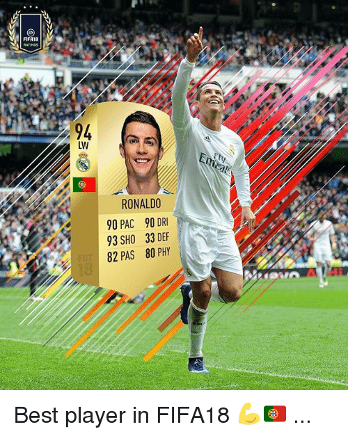 Memes, Best, and Ronaldo: FIFA18  94  LW  RONALDO  90 PAC 90 DR  93 SHO 33 DEF  82 PAS 80 PHY Best player in FIFA18 💪🇵🇹 ...