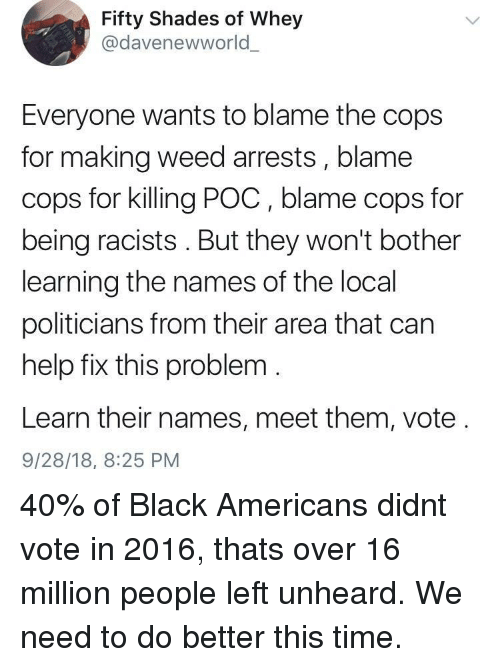 names of: Fifty Shades of Whey  @davenewworld  Everyone wants to blame the cops  for making weed arrests, blame  cops for killing POC, blame cops for  being racists. But they won't bother  learning the names of the local  politicians from their area that can  help fix this problem  Learn their names, meet them, vote  9/28/18, 8:25 PM 40% of Black Americans didnt vote in 2016, thats over 16 million people left unheard. We need to do better this time.