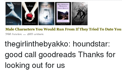 hush: Fifty Shades  WUTHERING  HEIGHTs  EMILY BRONTE  ISASTI  hush, hush  E L Jamos  Male Characters You Would Run From If They Tried To Date You  96 boks460 voters thegirlinthebyakko:  houndstar:  good call goodreads  Thanks for looking out for us