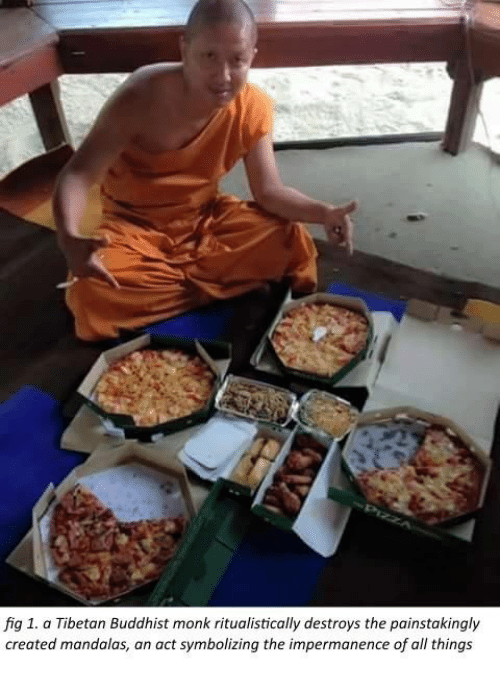 Mandala: fig 1. a Tibetan Buddhist monk ritualistically destroys the painstakingly  created mandalas, an act symbolizing the impermanence of all things