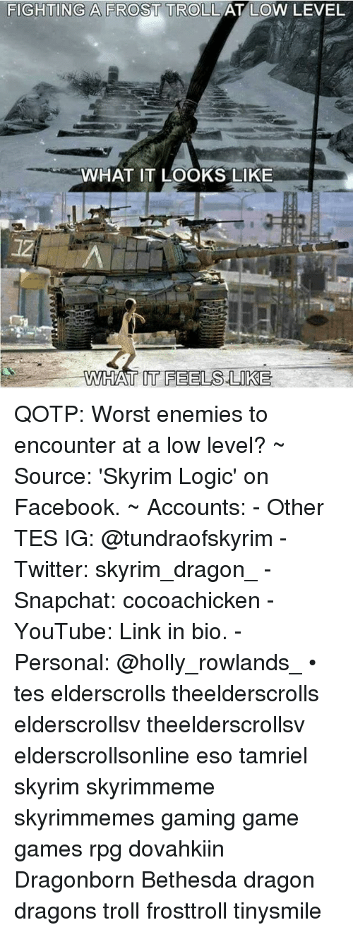 Facebook, Logic, and Skyrim: FIGHTING A FROST TROLL  AT LOW LEVEL  WHAT IT LOOKS LIKE  WHAT IT FEELS LIKE QOTP: Worst enemies to encounter at a low level? ~ Source: 'Skyrim Logic' on Facebook. ~ Accounts: - Other TES IG: @tundraofskyrim - Twitter: skyrim_dragon_ - Snapchat: cocoachicken - YouTube: Link in bio. - Personal: @holly_rowlands_ • tes elderscrolls theelderscrolls elderscrollsv theelderscrollsv elderscrollsonline eso tamriel skyrim skyrimmeme skyrimmemes gaming game games rpg dovahkiin Dragonborn Bethesda dragon dragons troll frosttroll tinysmile