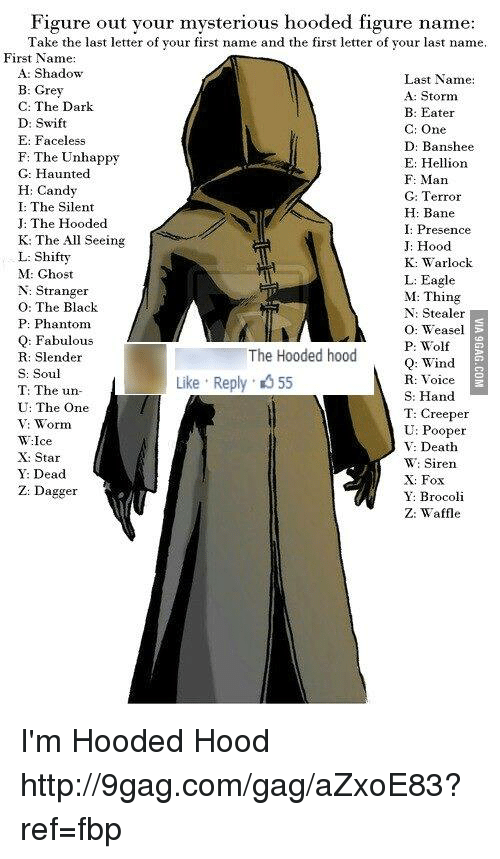hellion: Figure out your mysterious hooded figure name  Take the last letter of your first name and the first letter of your last name.  First Name:  A: Shadow  Last Name:  B: Grey  A: Storm  C: The Dark  B: Eater  D: Swift  C: One  E: Faceless  D: Banshee  F: The Unhappy  E: Hellion  C: Haunted  F. Man  H: Candy  G: Terror  H: Bane  J: The Hooded  I: Presence  K: The All Seeing  J: Hood  L: Shifty  K: Warlock.  M: Ghost  L: Eagle  N: Stranger  M: Thing  O: The Black  N: Stealer  P: Phantom  O: Weasel  Q: Fabulous  P: Wolf  The Hooded hood  R: Slender  Q: Wind  S: Soul  Like Reply 55  R: Voice  T: The un-  S: Hand  U: The One  T: Creeper  TW: Worm  U: Pooper  TW:Ice  V: Death  X: Star  W: Siren  Y: Dead  X: Fox  Z: Dagger  Y. Brocoli  Z: Waffle I'm Hooded Hood http://9gag.com/gag/aZxoE83?ref=fbp