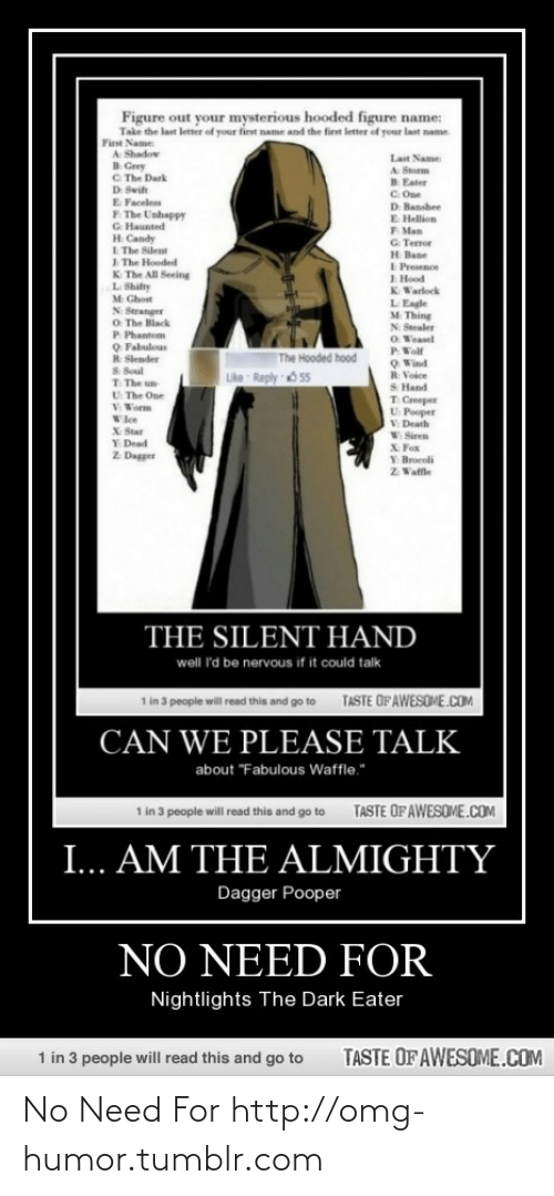 "hellion: Figure out your mysterious hooded figure name:  Take the last letter of your first name and the first letter of your last name.  First Name  A Shadow  B Grey  C. The Dark  D Swift  Last Name  A Storm  B Eater  C. One  D: Banshee  E Hellion  F Man  G. Terror  H Bane  I Presence  I Hood  K Warlock  E Faceless  F. The Unhappy  G Haunted  H Candy  I The Silent  I The Hooded  K The All Seeing  L Shifty  M Chost  L Eagle  M Thing  N Stealer  O Weasel  N Stranger  O The Black  P Phantom  O Fabulous  R Slender  S. Soul  T The un  U The One  V Worm  P Wolf  Q Wind  R Voice  S Hand  The Hooded hood  Like Reply 6 55  T Creeper  U: Pooper  V Death  V Siren  Wle  X Star  Y Dead  Z Dagger  X Fox  Y: Brocoli  Z Waffle  THE SILENT HAND  well 'd be nervous if it could talk  1 in 3 people will read this and go to  TASTE OF AWESOME.COM  CAN WE PLEASE TALK  about ""Fabulous Waffle.""  1 in 3 people will read this and go to  TASTE OFAWESOME.COM  I... AM THE ALMIGHTY  Dagger Pooper  NO NEED FOR  Nightlights The Dark Eater  1 in 3 people will read this and go to  TASTE OF AWESOME.COM No Need For http://omg-humor.tumblr.com"
