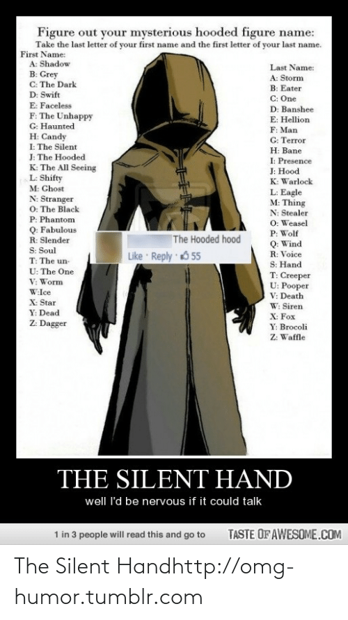 hellion: Figure out your mysterious hooded figure name:  Take the last letter of your first name and the first letter of your last name.  First Name:  A: Shadow  Last Name:  B: Grey  C: The Dark  D: Swift  E: Faceless  A: Storm  B: Eater  C: One  D: Banshee  F: The Unhappy  G: Haunted  H: Candy  I: The Silent  J: The Hooded  K: The All Seeing  L: Shifty  E: Hellion  F: Man  G: Terror  Н: Вane  I: Presence  J: Hood  K: Warlock  M: Chost  N: Stranger  O: The Black  L: Eagle  M: Thing  N: Stealer  P: Phantom  O: Weasel  Q: Fabulous  R: Slender  S: Soul  P: Wolf  The Hooded hood  Q: Wind  R: Voice  S: Hand  T: Creeper  U: Pooper  V: Death  Like Reply 655  T: The un-  U: The One  V: Worm  W:Ice  X: Star  W: Siren  Y: Dead  X: Fox  Z: Dagger  Y: Brocoli  Z: Waffle  THE SILENT HAND  well I'd be nervous if it could talk  TASTE OF AWESOME.COM  1 in 3 people will read this and go to The Silent Handhttp://omg-humor.tumblr.com