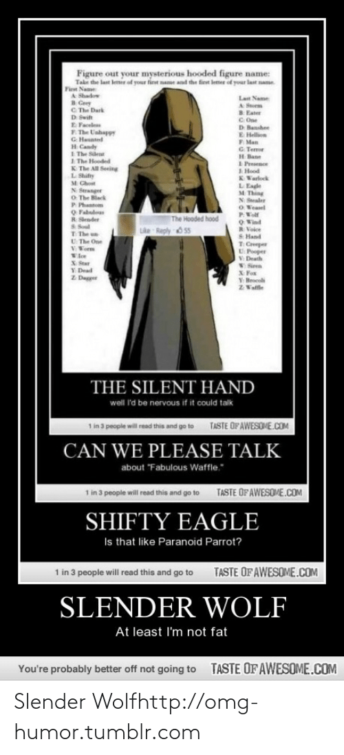 "Eagle: Figure out your mysterious hooded figure name:  Take the last letter of your tirt name and the first leter of your last name.  First Name  A Shadow  8 Grey  C. The Dark  D Swit  E Faceles  F. The Unhappy  G Haunted  Lat Name  A Storm  B. Eater  C. One  D Banshee  E Hellion  F. Man  G. Tem  H Bane  I Presence  1 Hood  KWarlock  H Candy  E The Silent  I The Hooded  K The All Seeing  L Shifty  M Chost  N Stranger  O The Black  P Phantom  Q Fabulous  R Slender  S Soul  T The un  U The One  V Worm  L Eagle  M Thing  N Stealer  O Weasel  PWolf  O Wind  R Volce  S Hand  The Hooded hood  Like Reply O 55  T Creeper  U Pooper  V Death  Wloe  X Star  Y Dead  Z Dagger  VSiren  X Fox  Y Brocoli  Z Valfle  THE SILENT HAND  well 'd be nervous if it could talk  TASTE OFAWESOME.COM  1 in 3 people will read this and go to  CAN WE PLEASE TALK  about ""Fabulous Waffle.""  1 in 3 people will read this and go to  TASTE OFAWESOME.COM  SHIFTY EAGLE  Is that like Paranoid Parrot?  TASTE OF AWESOME.COM  1 in 3 people will read this and go to  SLENDER WOLF  At least l'm not fat  TASTE OFAWESOME.COM  You're probably better off not going to Slender Wolfhttp://omg-humor.tumblr.com"