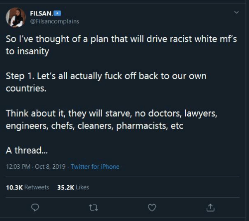 chefs: FILSAN.  @Filsancomplains  So l've thought of a plan that will drive racist white mf's  to insanity  our  Step 1. Let's all actually fuck off back to our own  countries.  Think about it, they will starve, no doctors, lawyers,  engineers, chefs, cleaners, pharmacists, etc  A thread...  12:03 PM · Oct 8, 2019 - Twitter for iPhone  10.3K Retweets  35.2K Likes