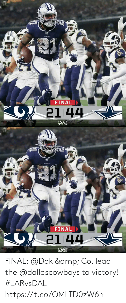 victory: FINAL  21 44   FINAL  21 44 FINAL: @Dak & Co. lead the @dallascowboys to victory! #LARvsDAL https://t.co/OMLTD0zW6n