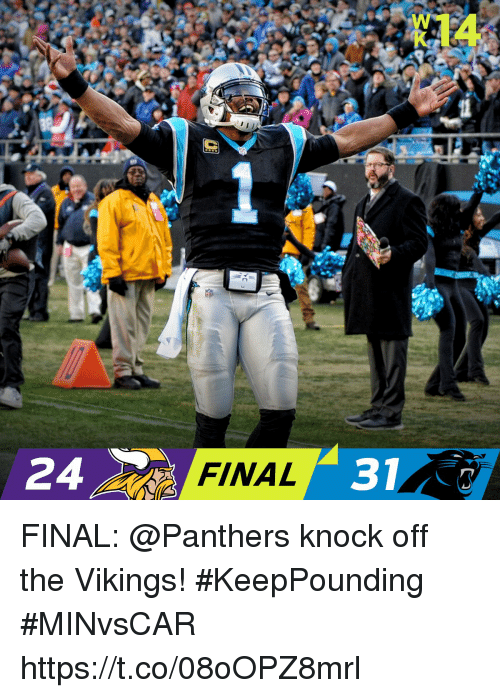 Memes, Panthers, and Vikings: FINAL  3  24 FINAL: @Panthers knock off the Vikings! #KeepPounding   #MINvsCAR https://t.co/08oOPZ8mrl