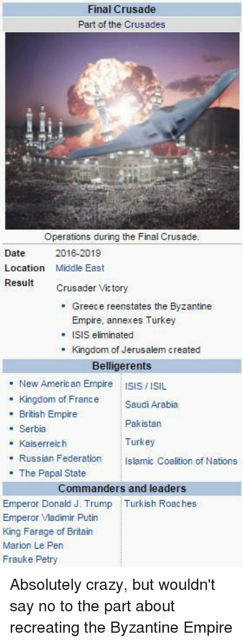 Glorious Greek Empire: Final Crusade  Part of the Crusades  Operations during the Final Crusade.  Date  2016-2019  Location  Middle East  Result  Crusader Victory  Greece reenstates the Byzantine  Empire, annexes Turkey  SIS eliminated  Kingdom of Jerusalem created  Belligerents  New American Empire  ISIS ISIL  Kingdom of France Saudi Arabia  British Empire  Pakistan  Serbia  Turkey  Kaiserreich  Russian Federation  slamic Coalition of Nations  The Papal State  Commanders and leaders  Emperor Donald J. Trump Turkish Roaches  Emperor Vladimir Putin  King Farage of Britain  Marion Le Pen  Frauke Petry Absolutely crazy, but wouldn't say no to the part about recreating the Byzantine Empire
