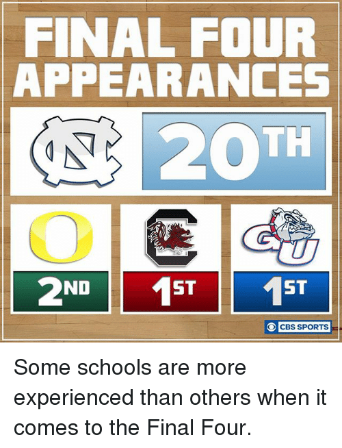 final four: FINAL FOUR  APPEARANCES  20TH  ND  ST  ST  O CBS SPORTS Some schools are more experienced than others when it comes to the Final Four.