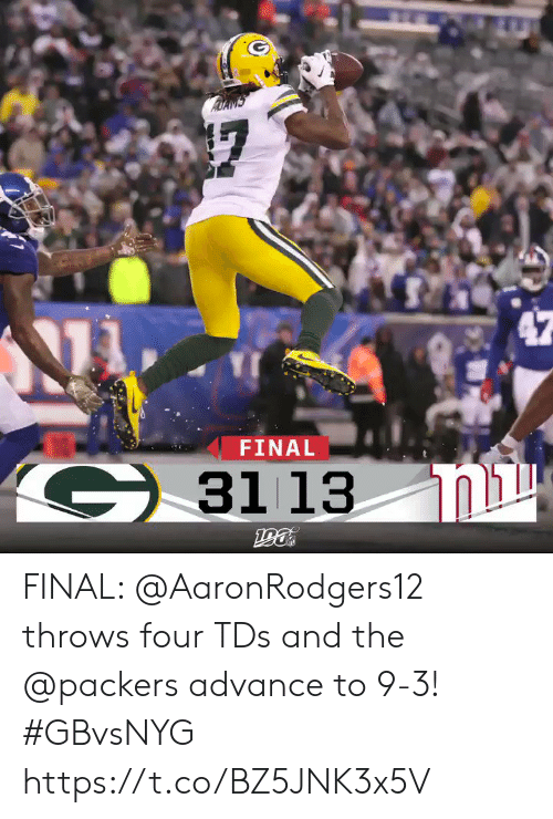 tds: FINAL  G3113  ומג  190 FINAL: @AaronRodgers12 throws four TDs and the @packers advance to 9-3! #GBvsNYG https://t.co/BZ5JNK3x5V