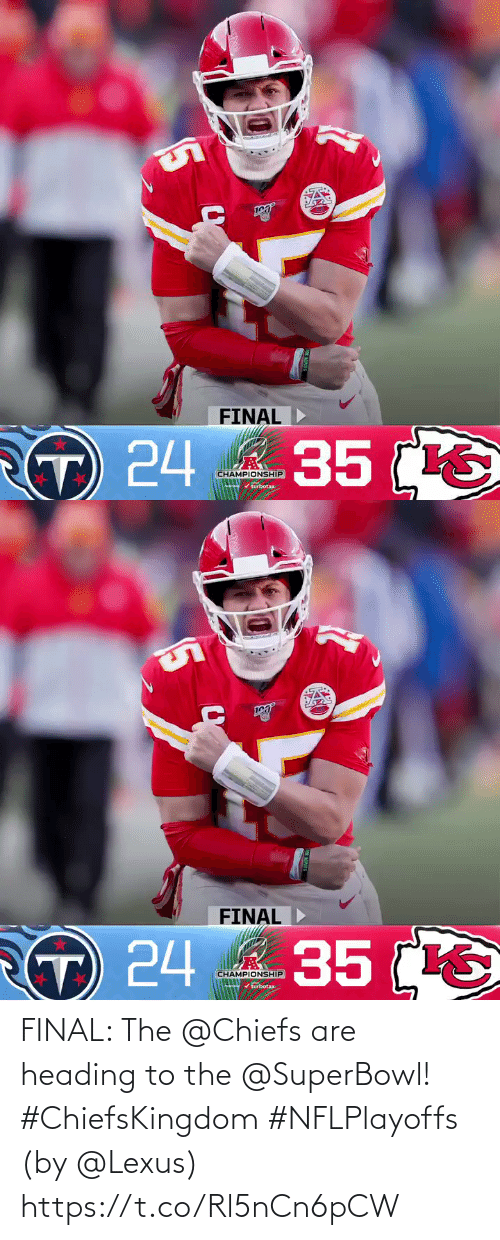 lexus: FINAL: The @Chiefs are heading to the @SuperBowl! #ChiefsKingdom #NFLPlayoffs  (by @Lexus) https://t.co/Rl5nCn6pCW