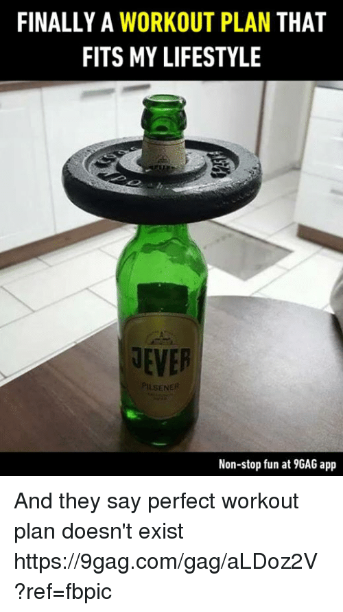 9gag, Dank, and Lifestyle: FINALLY A WORKOUT PLAN THAT  FITS MY LIFESTYLE  NEVER  ENER  Non-stop fun at 9GAG app And they say perfect workout plan doesn't exist https://9gag.com/gag/aLDoz2V?ref=fbpic