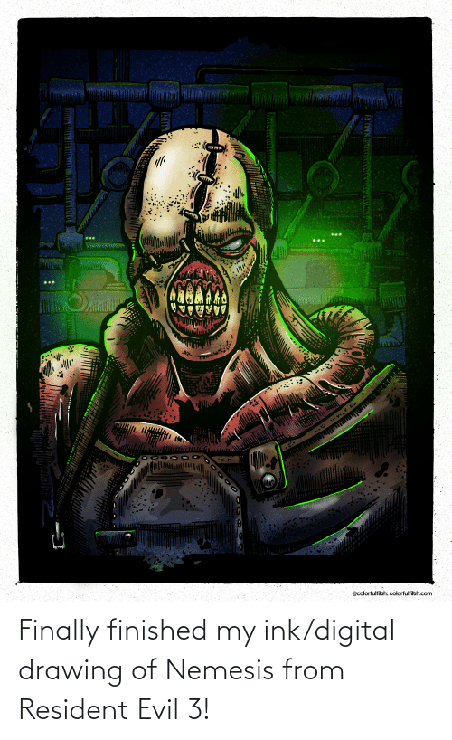 ink: Finally finished my ink/digital drawing of Nemesis from Resident Evil 3!