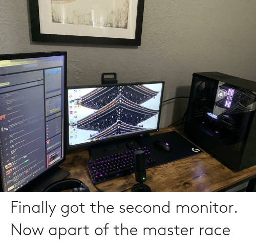 Apart: Finally got the second monitor. Now apart of the master race