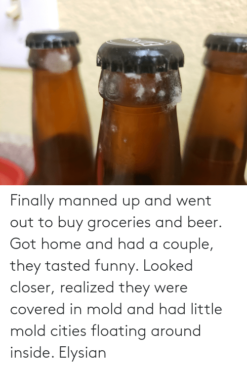 floating: Finally manned up and went out to buy groceries and beer. Got home and had a couple, they tasted funny. Looked closer, realized they were covered in mold and had little mold cities floating around inside. Elysian