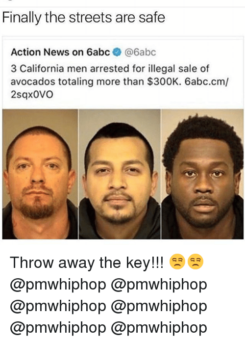 Memes, News, and Streets: Finally the streets are safe  Action News on 6abc  @6abc  3 California men arrested for illegal sale of  avocados totaling more than $300K. 6abc.cm/  2sqx0VO Throw away the key!!! 😒😒 @pmwhiphop @pmwhiphop @pmwhiphop @pmwhiphop @pmwhiphop @pmwhiphop