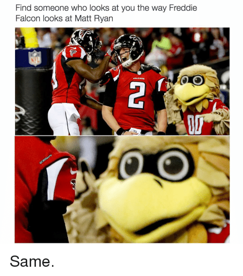 Memes, Falcons, and 🤖: Find someone who looks at you the way Freddie  Falcon looks at Matt Ryan  FALCONS Same.