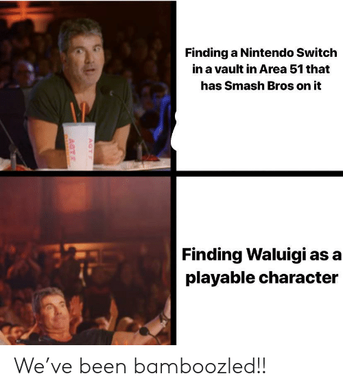 Nintendo Switch : Finding a Nintendo Switch  in a vault in Area 51 that  has Smash Bros on it  Finding Waluigi as a  playable character  AGT  AGT We've been bamboozled!!