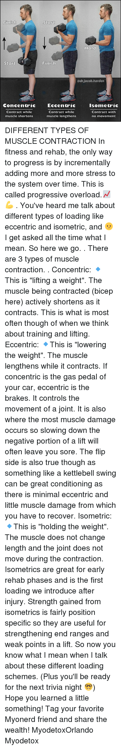 "Gas Pedal, Memes, and True: Finish  Start  Concentric  Contract while  muscle shortens  Start  Hold  Finish  adrjacob harden  Eccentric  Isometric  Contract while  Contract with  muscle lengthens  no movement DIFFERENT TYPES OF MUSCLE CONTRACTION In fitness and rehab, the only way to progress is by incrementally adding more and more stress to the system over time. This is called progressive overload.📈💪 . You've heard me talk about different types of loading like eccentric and isometric, and 😕 I get asked all the time what I mean. So here we go. . There are 3 types of muscle contraction. . Concentric: 🔹This is ""lifting a weight"". The muscle being contracted (bicep here) actively shortens as it contracts. This is what is most often though of when we think about training and lifting. Eccentric: 🔹This is ""lowering the weight"". The muscle lengthens while it contracts. If concentric is the gas pedal of your car, eccentric is the brakes. It controls the movement of a joint. It is also where the most muscle damage occurs so slowing down the negative portion of a lift will often leave you sore. The flip side is also true though as something like a kettlebell swing can be great conditioning as there is minimal eccentric and little muscle damage from which you have to recover. Isometric: 🔹This is ""holding the weight"". The muscle does not change length and the joint does not move during the contraction. Isometrics are great for early rehab phases and is the first loading we introduce after injury. Strength gained from isometrics is fairly position specific so they are useful for strengthening end ranges and weak points in a lift. So now you know what I mean when I talk about these different loading schemes. (Plus you'll be ready for the next trivia night 🤓) Hope you learned a little something! Tag your favorite Myonerd friend and share the wealth! MyodetoxOrlando Myodetox"