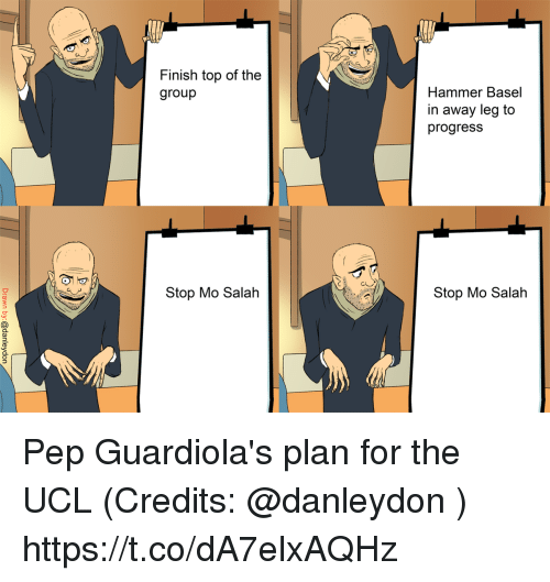 Memes, 🤖, and Top: Finish top of the  group  Hammer Basel  in away leg to  progresS  Stop Mo Salah  Stop Mo Salah Pep Guardiola's plan for the UCL (Credits: @danleydon ) https://t.co/dA7elxAQHz