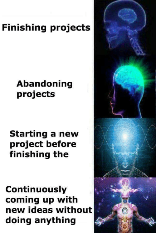 coming up: Finishing projects  Abandoning  projects  Starting a new  project before  finishing the  Continuously  coming up with  new ideas without  doing anything  REEER