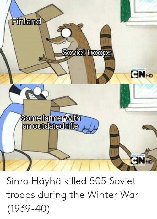 Outdated: Finland  Soviet troopS  Some farmer  an outdated  with  rifle  0  0  0  LD Simo Häyhä killed 505 Soviet troops during the Winter War (1939-40)