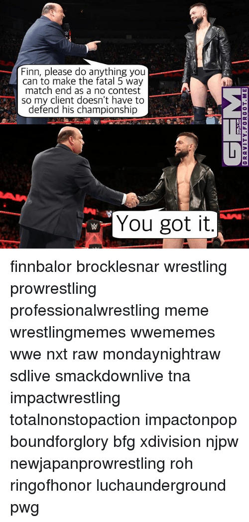 Finn, Meme, and Memes: Finn, please do anything you  can to make the fatal 5 way  match end as a no contest  so my client doesn't have to  defend his championship  You got it finnbalor brocklesnar wrestling prowrestling professionalwrestling meme wrestlingmemes wwememes wwe nxt raw mondaynightraw sdlive smackdownlive tna impactwrestling totalnonstopaction impactonpop boundforglory bfg xdivision njpw newjapanprowrestling roh ringofhonor luchaunderground pwg