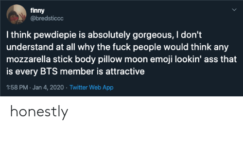 Finny: finny  @bredsticcc  I think pewdiepie is absolutely gorgeous, I don't  understand at all why the fuck people would think any  mozzarella stick body pillow moon emoji lookin' ass that  is every BTS member is attractive  1:58 PM · Jan 4, 2020 · Twitter Web App honestly