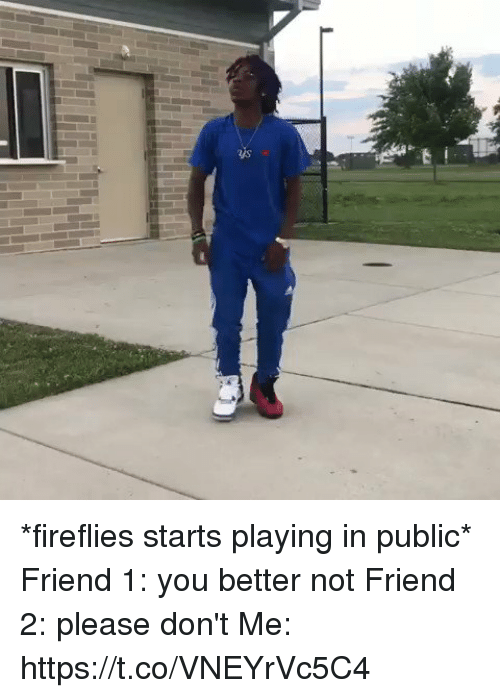 Girl Memes, Friend, and Fireflies: *fireflies starts playing in public*  Friend 1: you better not  Friend 2: please don't  Me:  https://t.co/VNEYrVc5C4