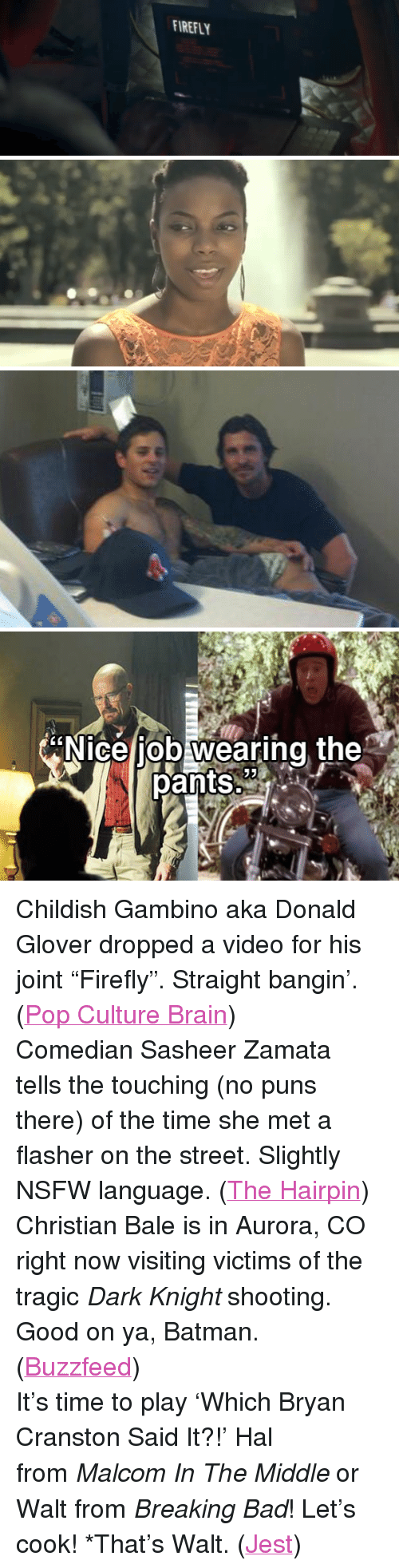 "puns: FIREFLY   N  the  ice job wearing  pants 2 <p>Childish Gambino aka Donald Glover dropped a video for his joint &ldquo;Firefly&rdquo;. Straight bangin&rsquo;. (<a href=""http://popculturebrain.com/post/27916531374/new-music-video-childish-gambino-fire-fly"" target=""_blank"">Pop Culture Brain</a>)</p> <p>Comedian Sasheer Zamata tells the touching (no puns there) of the time she met a flasher on the street. Slightly NSFW language. (<a href=""http://thehairpin.com/2012/07/five-minute-entertainment-break-sasheer-meets-her-flasher/"" target=""_blank"">The Hairpin</a>)</p> <p>Christian Bale is in Aurora, CO right now visiting victims of the tragic <em>Dark Knight</em> shooting. Good on ya, Batman. (<a href=""http://www.buzzfeed.com/gavon/christian-bale-meets-with-survivors-of-aurora-shoo"" target=""_blank"">Buzzfeed</a>)</p> <p>It&rsquo;s time to play &lsquo;Which Bryan Cranston Said It?!&rsquo; Hal from <em>Malcom In The Middle</em> or Walt from <em>Breaking Bad</em>! Let&rsquo;s cook! *That&rsquo;s Walt. (<a href=""http://www.jest.com/article/184531/bryan-cranston-walter-white-hal-quotes"" target=""_blank"">Jest</a>)</p>"