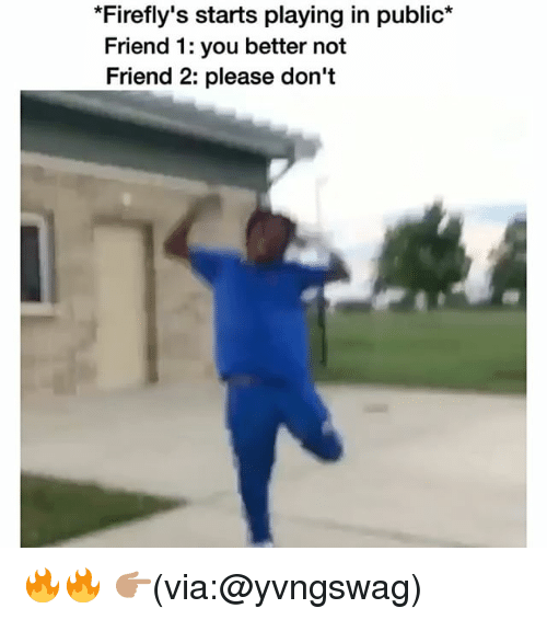 Funny, Friend, and Via: *Firefly's starts playing in public*  Friend 1: you better not  Friend 2: please don't 🔥🔥 👉🏽(via:@yvngswag)