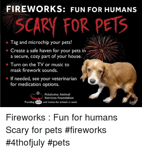 Animals, Memes, and Music: FIREWORKS: FUN FOR HUMANS  SCARY FOR PETS  o Tag and microchip your pets!  Tag and microchip your pets!  Create a safe haven for your pets in  a secure, cozy part of your house.  mask firework sounds.  If needed, see your veterinarian  . Turn on the TV or music to  for medication options.  O Petaluma Animal  Services Foundation  Providing H0PB and homes for animals in need. Fireworks : Fun for humans  Scary for pets            #fireworks #4thofjuly #pets