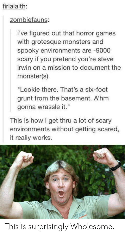 """Steve Irwin: firlalaith:  zombiefauns:  i've figured out that horror games  with grotesque monsters and  spooky environments are -9000  scary if you pretend you're steve  irwin on a mission to document the  monster(s)  """"Lookie there. That's a six-foot  grunt from the basement. A'hm  gonna wrassle it.""""  This is how I get thru a lot of scary  environments without getting scared,  it really works.  rocodilcl  unter This is surprisingly Wholesome."""