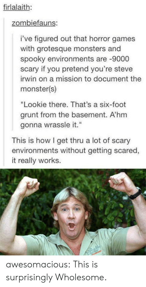 """Steve Irwin: firlalaith:  zombiefauns:  i've figured out that horror games  with grotesque monsters and  spooky environments are -9000  scary if you pretend you're steve  irwin on a mission to document the  monster(s)  """"Lookie there. That's a six-foot  grunt from the basement. A'hm  gonna wrassle it.""""  This is how I get thru a lot of scary  environments without getting scared,  it really works.  rocodilcl  unter awesomacious:  This is surprisingly Wholesome."""