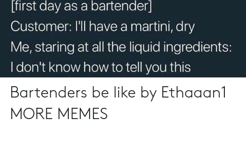 Bartenders: [first day as a bartender]  Customer: I'll have a martini, dry  Me, staring at all the liquid ingredients:  I don't know how to tell you this Bartenders be like by Ethaaan1 MORE MEMES