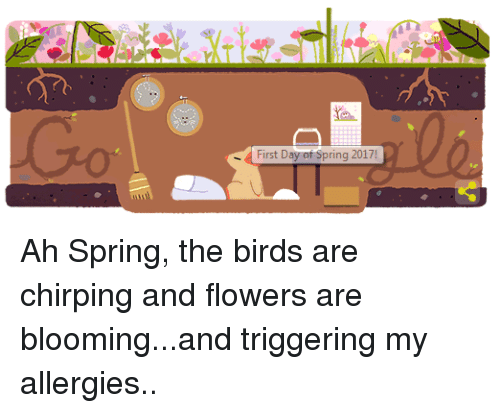 Dank, 🤖, and Ahs: First Day of Spring 2017! Ah Spring, the birds are chirping and flowers are blooming...and triggering my allergies..