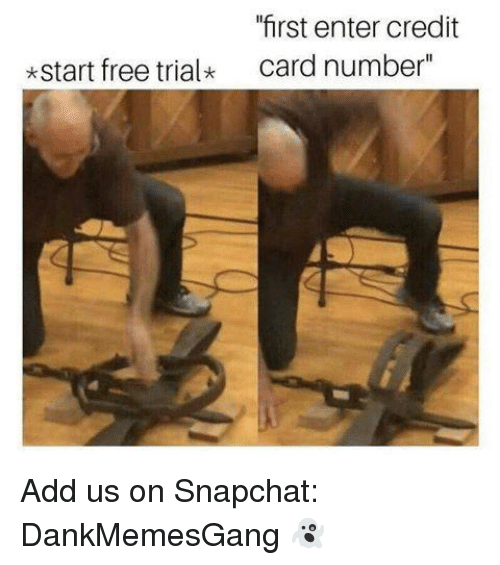 "Memes, Snapchat, and Free: ""first enter credit  card number""  *start free trialk Add us on Snapchat: DankMemesGang 👻"