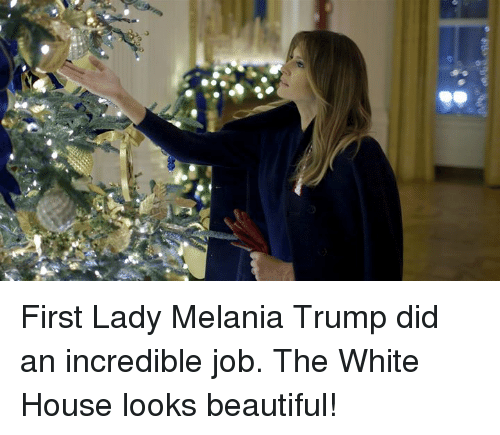Melania: First Lady Melania Trump did an incredible job. The White House looks beautiful!