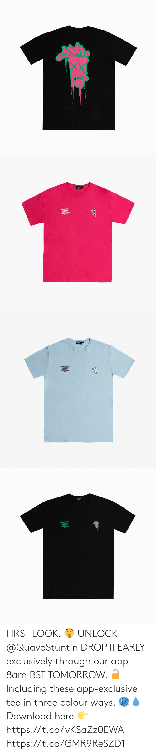 tee: FIRST LOOK. 🤫  UNLOCK @QuavoStuntin DROP II EARLY exclusively through our app - 8am BST TOMORROW. 🔓  Including these app-exclusive tee in three colour ways. 🥶💧  Download here 👉 https://t.co/vKSaZz0EWA https://t.co/GMR9ReSZD1