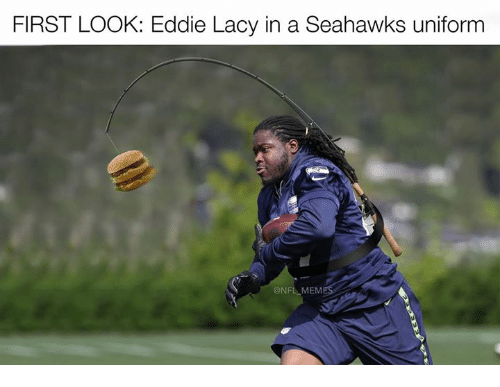 Eddie Lacy, Nfl, and Seahawks: FIRST LOOK: Eddie Lacy in a Seahawks uniform  @NFL MEM