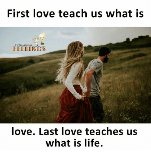 Life, Love, and Memes: First love teach us what is  /feelings. ws  FEELONGS  love. Last love teaches us  what is life.