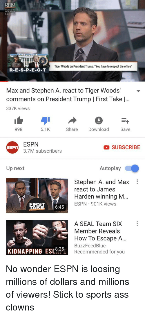 "Ass, Espn, and James Harden: FIRST  MOVES TO  SEP  Tiger Woods on President Trump: ""You have to respect the office""  R-E-S-P-E-C-T  Max and Stephen A. react to Tiger Woods'-  comments on President Trump 