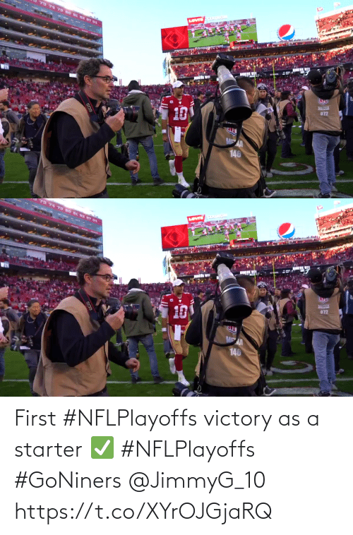 victory: First #NFLPlayoffs victory as a starter ✅ #NFLPlayoffs #GoNiners @JimmyG_10 https://t.co/XYrOJGjaRQ