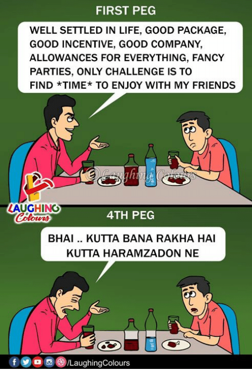 Friends, Life, and Fancy: FIRST PEG  WELL SETTLED IN LIFE, GOOD PACKAGE,  GOOD INCENTIVE, GOOD COMPANY  ALLOWANCES FOR EVERYTHING, FANCY  PARTIES, ONLY CHALLENGE IS TO  FIND *TIME*TO ENJOY WITH MY FRIENDS  LAUGHING  4TH PEG  otwns  BHAI.. KUTTA BANA RAKHA HAI  KUTTA HARAMZADON NE