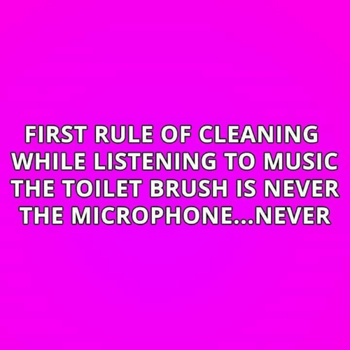 microphone: FIRST RULE OF CLEANING  WHILE LISTENING TO MUSIC  THE TOILET BRUSH IS NEVER  THE MICROPHONE.NEVER