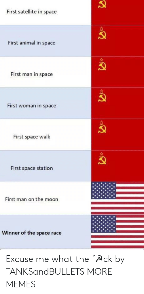 satellite: First satellite in space  First animal in space  First man in space  First woman in space  First space walk  First space station  First man on the moon  Winner of the space race Excuse me what the f☭ck by TANKSandBULLETS MORE MEMES