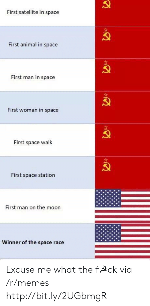 satellite: First satellite in space  First animal in space  First man in space  First woman in space  First space walk  First space station  First man on the moon  Winner of the space race Excuse me what the f☭ck via /r/memes http://bit.ly/2UGbmgR