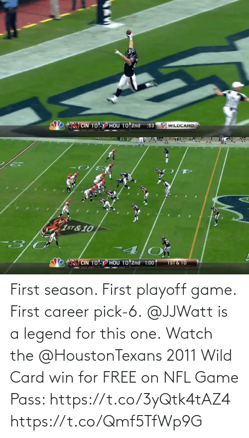 card: First season. First playoff game. First career pick-6. @JJWatt is a legend for this one.  Watch the @HoustonTexans 2011 Wild Card win for FREE on NFL Game Pass: https://t.co/3yQtk4tAZ4 https://t.co/Qmf5TfWp9G