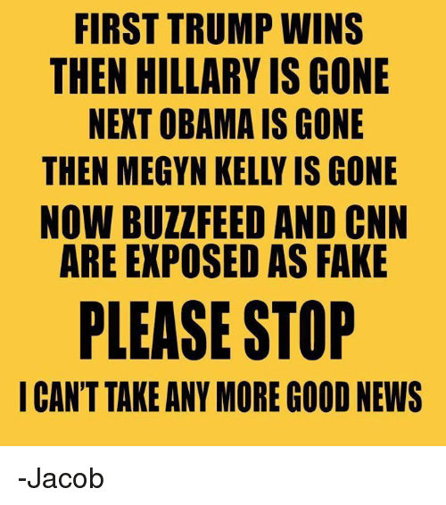 Trump Winning: FIRST TRUMP WINS  THEN HILLARY IS GONE  NEXT OBAMA IS GONE  THEN MEGYN KELLY IS GONE  NOW BUZZ FEED AND CNN  ARE EXPOSED AS FAKE  PLEASE STOP  I CAN'T TAKE ANY MORE GOOD NEWS -Jacob